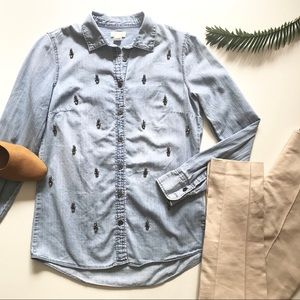 J. Crew Embellished Chambray Button Down